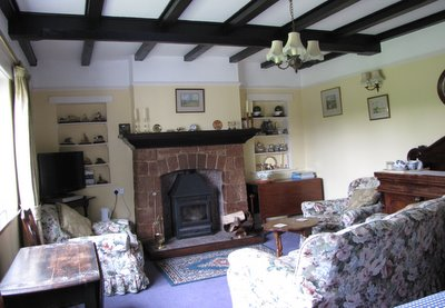 Bournestream B and B - sitting room with wood burning stove